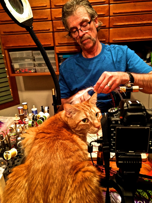Jay Nicholas fly tying with Boomer