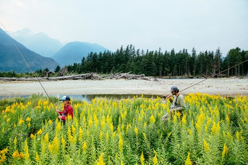 Jeff and Kathryn Hickman on the Lower Dean River, BC, where they operate Kimsquit Bay Lodge.