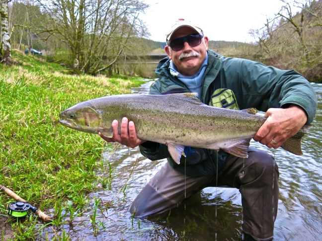 Matt Stephens with steelhead on the Swing.