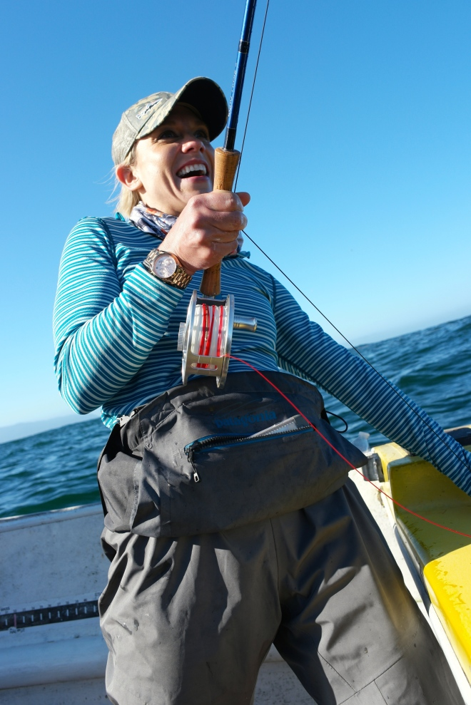 Julie executes a strip-set on a black rockfish.