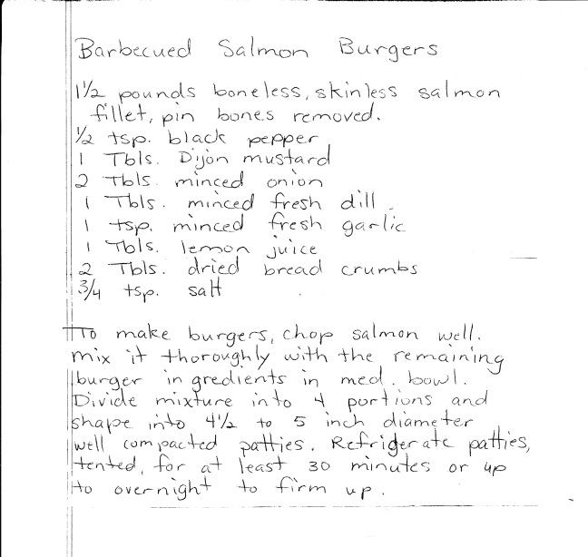 Coon FAmily Salmon Burger Recipe 2013